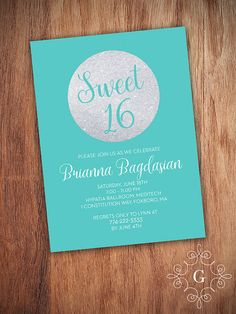 Printable Turquoise & Silver Sweet 16 Invite