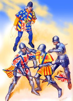 Foot combat between the Burgundians and the French