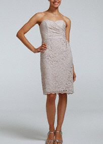 Your bridesmaids will look flawless in this feminine lace dress!  Strapless all over lace bodice features sweetheart neckline with pleated bust.  Scalloped lace hemis unique andadds textures to this already exquisite dress.  Fully lined. Back zip. Imported polyester. Dry clean only.  Limited quantities now available at select stores; available to special order at all stores.