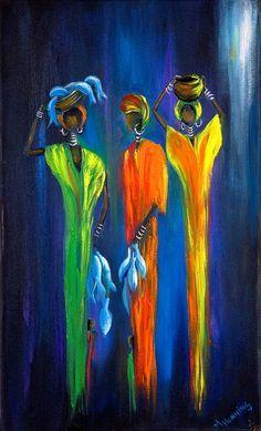 Kunst Bilder ideen - Women Selling Fish Painting by Marietjie Henning - Beste Art Pins Oil Painting On Canvas, Canvas Art, Pour Painting, Painting Abstract, African Art Paintings, Cubism Art, Africa Art, African American Art, Fish Art