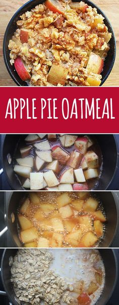 Simmer chopped fruit in apple juice, then add your oats to make oatmeal that tastes like pie. | 13 Insanely Clever Oatmeal Tricks You Need To Try