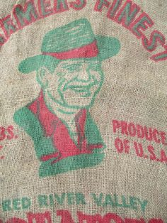 Vintage Farmers Finest  Potato Sack  Red River  by AStringorTwo, $12.00
