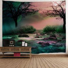 Trees Streams Print Tapestry Wall Hanging Art - W91 INCH * L71 INCH W91 INCH * L71 INCH
