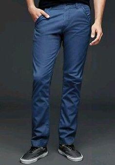 New Mens 1969 Gap Worker Slim Skinny Fit Blue Chinos Khakis Pants Size 34 X 30