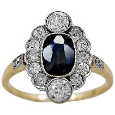 Art Deco 1.15 Carat Natural Sapphire Diamond Gold Engagement Ring | From a unique collection of vintage engagement rings at https://www.1stdibs.com/jewelry/rings/engagement-rings/
