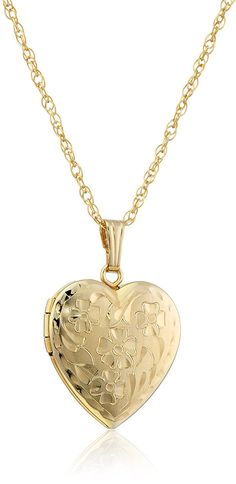 14k Yellow Gold-Filled Engraved Flowers Heart Locket, 18' >>> You can get more details here : trend jewelry 2016