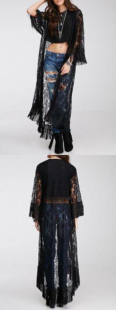 Black long lace kimono for sexy lady.