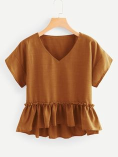 Shein V Neck Frill Trim Pep Hem Blouse - Shop V Neckline Frill Trim Pep Hem Blouse online. SheIn offers V Neckline Frill Trim Pep Hem Blouse & more to fit your fashionable needs. Source by makenna_marr - Fall Outfits, Casual Outfits, Summer Outfits, Cute Outfits, Fashion Outfits, Dressy Tops, Indian Blouse Designs, Summer Shirts, Fashion Clothes