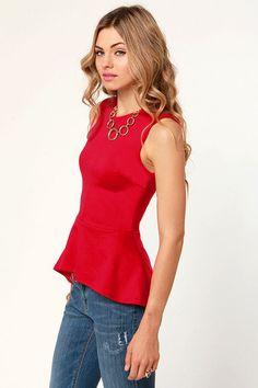Cute Red Top - Peplum Top - Sleeveless Top - $29.00