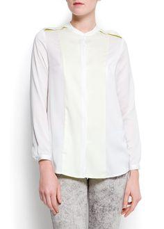 MANGO - Concealed contraste panels shirt #TShirt #Fashion