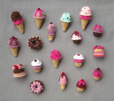 Amigurumi Brooches. Ice Cream, Cupcakes, Donnuts and Cakes. Biribís