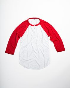 Tri-Blend Basic Raglan Henley Red - Made in USA
