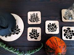Laser Cut Wood Coaster Set: Succulent Garden by CuriousDoodles Cnc, Laser Cut Wood, Laser Cutting, Diy Laser Cutter, Wood Crafts, Diy Crafts, Wooden Keychain, Laser Cut Jewelry, Wood Coasters