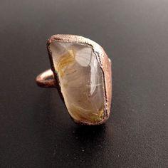 Large Stone Quartz Ring - Rutilated Quartz Statement Ring - Unique Ring - Raw Stone Ring - Copper Ring - Semiprecious Stone Ring - SIZE 7