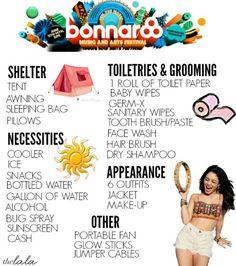• the Lala's Bonnaroo Checklist •