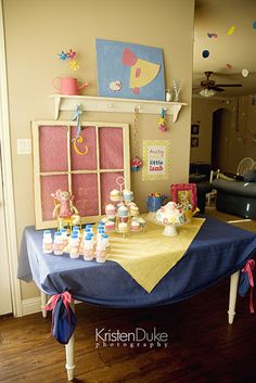 Mary Had a Little Lamb nursery rhyme themed second birthday party in pink blue yellow complete dessert table