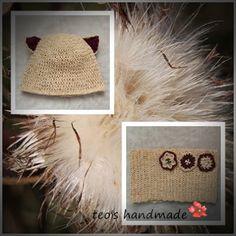 teo's handmade: Caciulita si guleras cu floricele Burlap, Crochet Hats, Reusable Tote Bags, Handmade, Knitting Hats, Hand Made, Hessian Fabric, Jute, Handarbeit