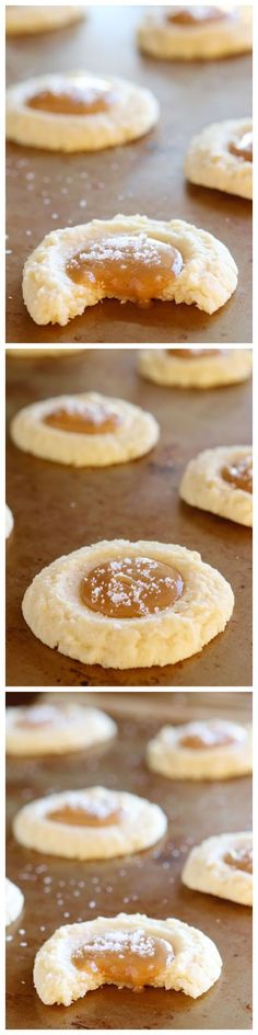 These Salted Caramel Cookies are SO soft and buttery. The perfect vanilla butter cookie! But topped with gooey salted caramel?? I die!!
