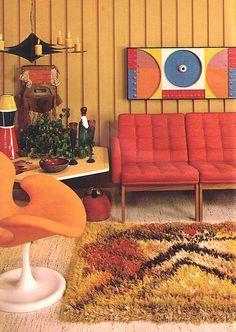 Found in Good Housekeeping magazine, July 1969. Mid-Century Modern Interior Design, Vintage Architecture, Vintage Decor, Vintage Furniture