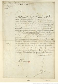 The document on the left might look serious, with its curvy calligraphy and concentrated script, but it is really nothing more than a bill.   It says, in essence, that by order of the Queen, Marc-Antoine-François-Marie Randon of the Tower, the General Treasurer, is to pay the Monsieur Bonnefoy-Duplan, her launderer, 250 pounds cash (150 for services rendered and 100 for housing).  The payment covered the first half of 1783.