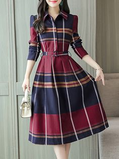 Fold-Over Collar Plaid Skater Dress , formal dresses maxi dresses womens dresses summer dresses party dresses long dresses casual dresses dresses for wedding , # Source by ootdclothes modestos Simple Dresses, Elegant Dresses, Cute Dresses, Casual Dresses, Dresses Dresses, Long Dresses, Party Dresses, Classic Dresses, Wedding Dresses