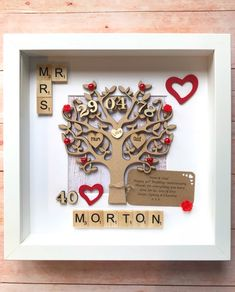 Wedding Anniversary Gift. Ruby Wedding. 40th Wedding Gift. Any Anniversary. Engraved Hearts. Parents Anniversary Gift. Scrabble Wall Art by allthingslovegifts on Etsy #ruby #rubywedding #weddinganniversary #anniversary #anniversarygifts #handmade
