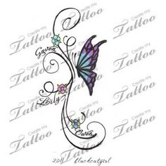 Butterfly with kids names custom tattoo | concept 1 #22343 | CreateMyTattoo.com