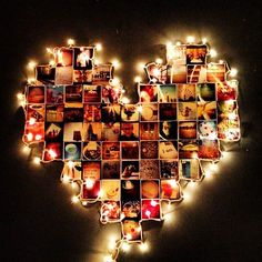 Print out your favorite instagram pictures, arrange them into a heart, and surround with a string of Christmas lights.