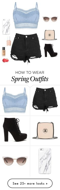 """Ariana Grande styled outfit"" by antoniiaxx on Polyvore featuring Lipsy, Chanel, Gucci, Essie and Eos"