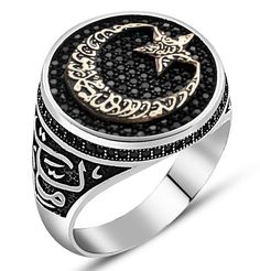 Men s Sterling Silver Islamic Emblem Ring Crescent Moon   Star with  Calligraphy. Мужские Кольца ... 1efc5417a55