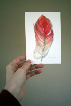 Flamingo Feather Painting - love this. Tat idea?