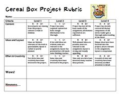 rubric for cereal box project.allows for more creativity and less of a cookie-cutter product. Book Report Projects, Rubrics For Projects, Book Projects, Project Rubric, Art Rubric, Reading Fair, 4th Grade Reading, 6th Grade Ela, Grade 3