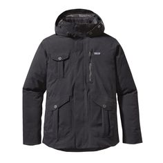 Patagonia Men's Hawke's Bay Jacket ($425)- The H2No® Performance Standard Hawke's Bay Jacket is a hooded, textured nylon/polyester jacket with a waterproof/breathable barrier, a DWR (durable water repellent) finish, Traceable Down (third-party-verified, non-live-plucked, non-force-fed) 600-fill-power duck down insulation and a removable, adjustable hood.