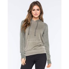 Full Tilt Essential Colorblock Womens Pullover Hoodie ($25) ❤ liked on Polyvore featuring tops, hoodies, olive, brown tops, color block hoodie, sweater pullover, colorblock hoodie y hooded sweatshirt