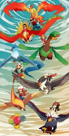 flying type pokemon with trainers! I love the pikachu with balloons. Flying, my favorite Pokemon type Pokemon Mew, Pokemon Luna, Gijinka Pokemon, Mega Pokemon, Pokemon Fan Art, Ho Ho Pokemon, Charmander, Pokemon Images, Statues