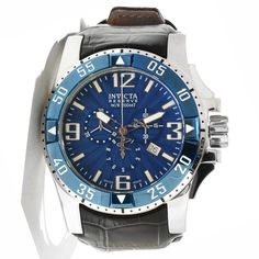 Invicta Men's 10911 Excursion Reserve Chronograph Blue Textured Dial Black Leather Watch * Learn more by visiting the image link.