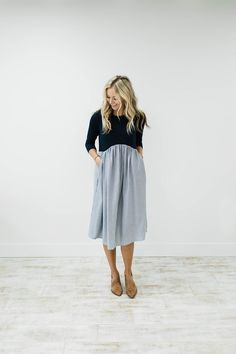 3/4 Sleeve Dress with Pockets | ROOLEE