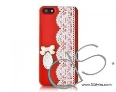 Lace Pearl Series iPhone 5 Cases - Bow Red
