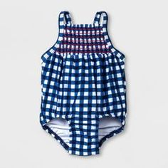 fddea7a71d Baby Girls' Checkered One Piece Swimsuit - Cat & Jack™ Navy : Target. BEST  SHOPPING REVIEW · Baby Girl Clothing / Swimsuits