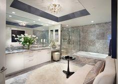 Bathroom:2017 Lambskin Rug Bathroom Contemporary Black Side Table Crystal Chandlier Custom Mirror Drop In Tub Frameless Shower Design Ideas Bathroom Cabinets Mixed Small Window Appealing above the Toilet