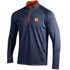 Houston Astros Under Armour Charged Quarter-Zip Pullover Jacket - Navy/Orange