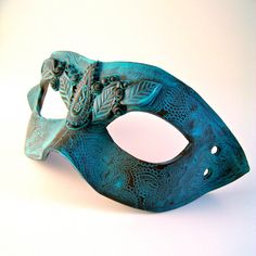 Ornate Verdigris Leaves Costume Mask Patina Polymer by WingsOfClay