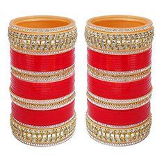 2.4 S Bollywood Bangles Bracelet Indian Punjabi Bridal Jewellery Chura Red D8 Year-End Bargain Sale Engagement & Wedding Bridal & Wedding Party Jewelry