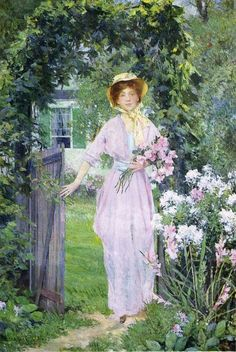 Flower Garden Young Woman in the Garden Francis Coates Jones - No dates listed Private collection Painting - oil on canvas H Garden Painting, Garden Art, Garden Gates, Tarot Celta, American Impressionism, Pierre Auguste Renoir, Great Paintings, A4 Poster, Vintage Artwork