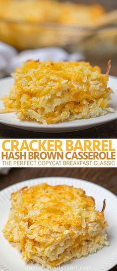 Cracker Barrel Hash Brown Casserole is the perfect copycat breakfast classic with shredded hash browns, cheddar cheese, sour cream and condensed soup. # breakfast casserole Cracker Barrel Hash Brown Casserole (Copycat) - Dinner, then Dessert Cheese Hashbrown Potatoes, Cracker Barrel Hashbrown Casserole, Cheesy Hashbrowns, Hashbrown Breakfast Casserole, Easy Hash Brown Casserole, Breakfast Potatoes, Cracker Barrel Cheesy Potatoes, Hashbrown Casserole In Crockpot, Recipe For Breakfast Casserole