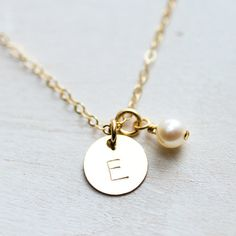 Gold Initial Necklace with Pearl, Hand Stamped Initial Jewelry, Gold Filled, Personalized Jewelry, Bridesmaids Gift, Tiny Dainty Necklace | @giftryapp