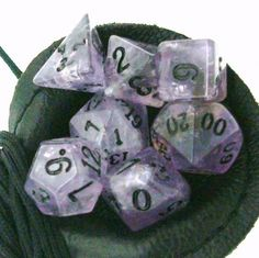 Amethyst 14mm Precious Gem 7 Dice Polyset.