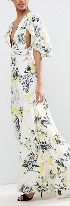 Ruffle Cape Deep Plunge Floral Maxi Dress