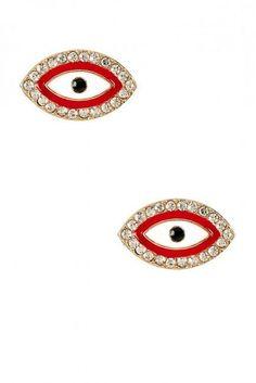 Evil eye stud earrings, love these