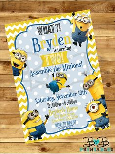 Hey, I found this really awesome Etsy listing at https://www.etsy.com/listing/241631205/minion-invitation-minion-party